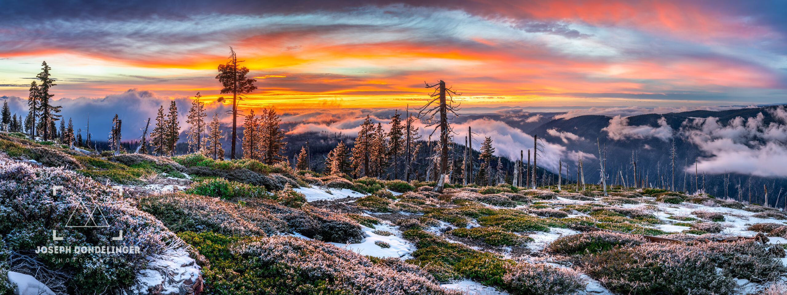 Panoramic image of a spectacular sunset over canyon fog