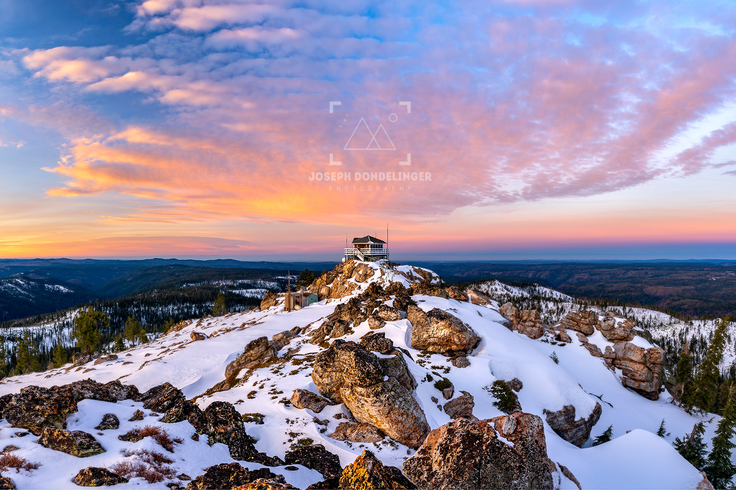 Spectacular sunrise at Duncan Peak Fire Lookout in the winter